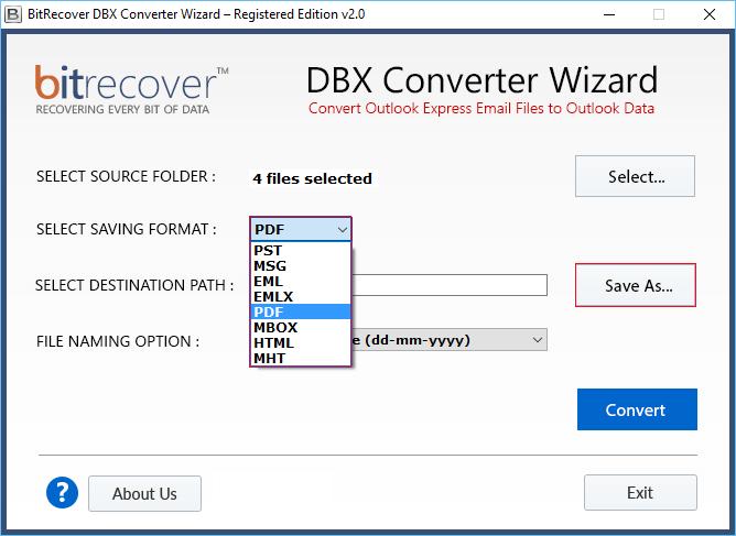 DBX Converter Wizard Screenshot 2