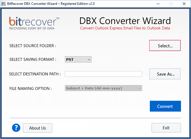 DBX Converter Wizard Screenshot
