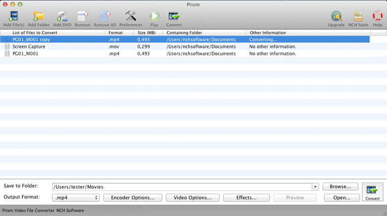 Prism Video File Converter Screenshot