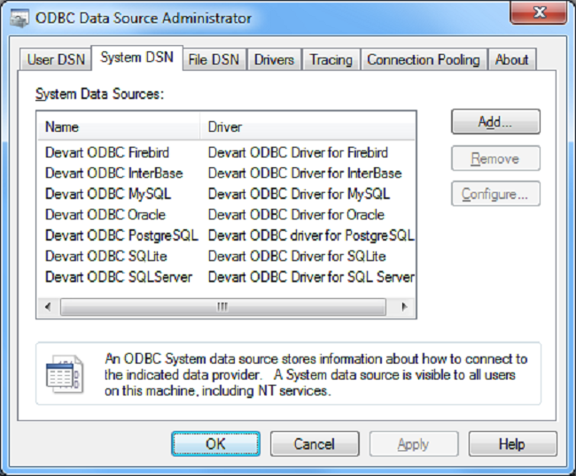 QuickBooks ODBC Driver (32/64 bit) Screenshot