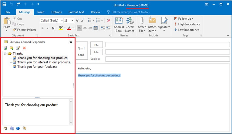 Canned Responder for Outlook Screenshot