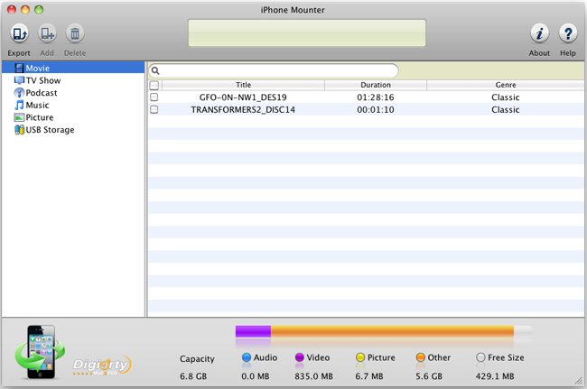 MacX iPhone Mounter Screenshot