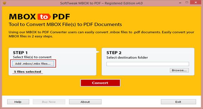 SoftTweak MBOX to PDF Screenshot