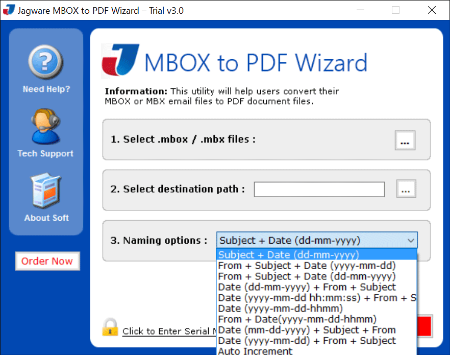 Jagware MBOX to PDF Wizard Screenshot