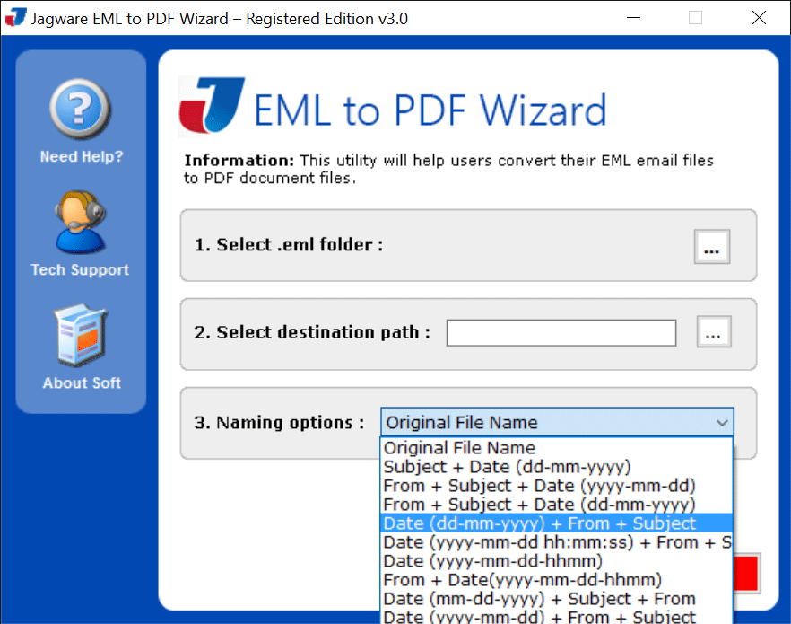 Jagware EML to PDF Wizard Screenshot