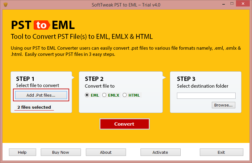 SoftTweak PST to EML Screenshot