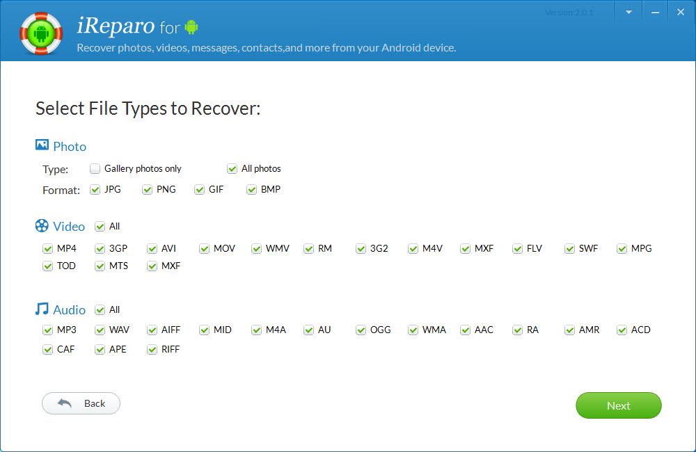 iReparo Android Data Recovery Screenshot 2