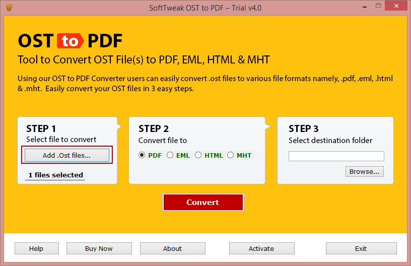 SoftTweak OST to PDF Screenshot
