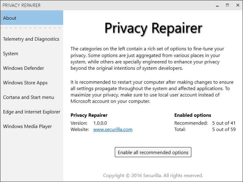 Privacy Repairer Screenshot