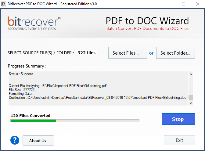 PDF to DOC Wizard Screenshot 3