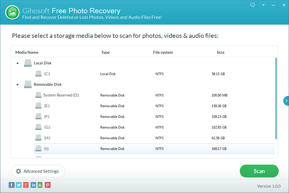 Gihosoft Free Photo Recovery Screenshot 1