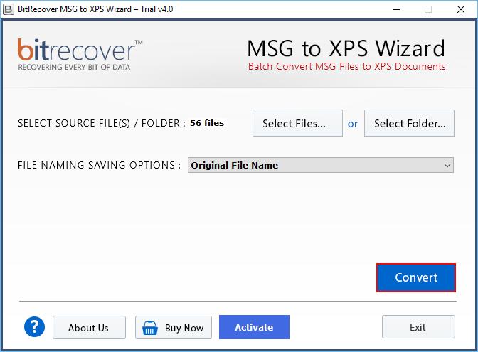 MSG to XPS Wizard Screenshot 2