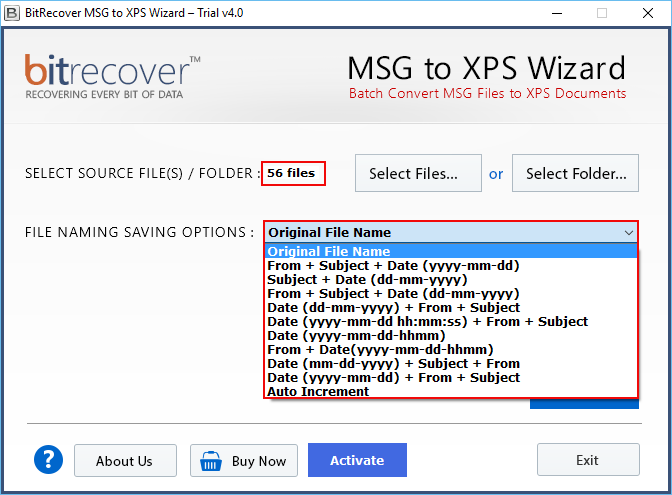 MSG to XPS Wizard Screenshot