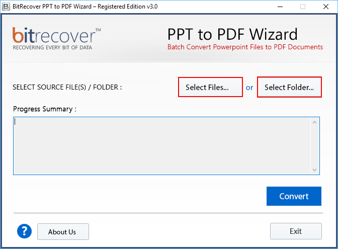 PPT to PDF Wizard Screenshot 1