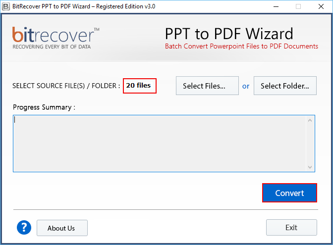PPT to PDF Wizard Screenshot 2