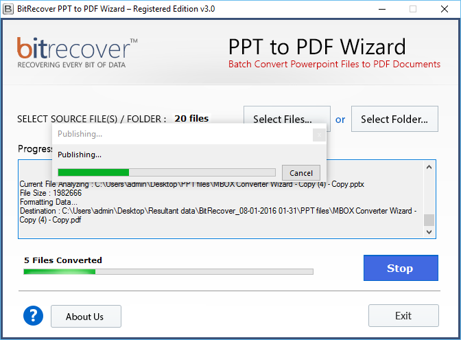 PPT to PDF Wizard Screenshot 3
