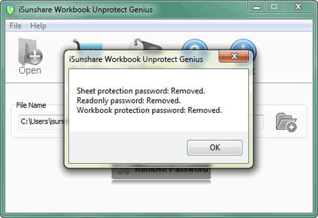 iSunshare Workbook Unprotect Genius Screenshot 4
