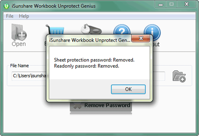 iSunshare Workbook Unprotect Genius Screenshot 6