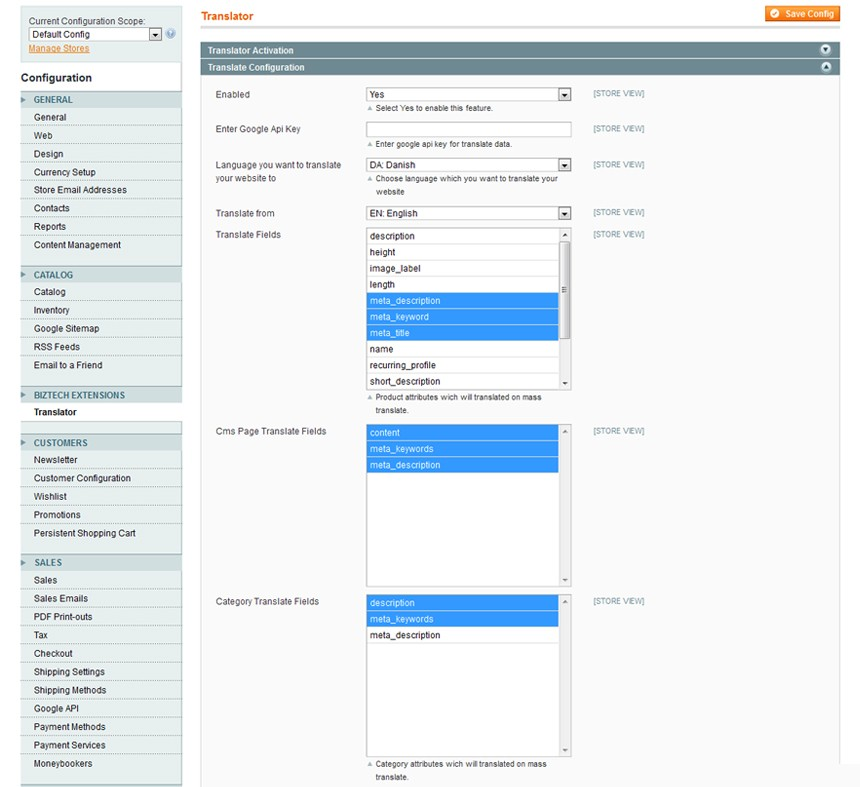 Language Translator Magento Extension Screenshot