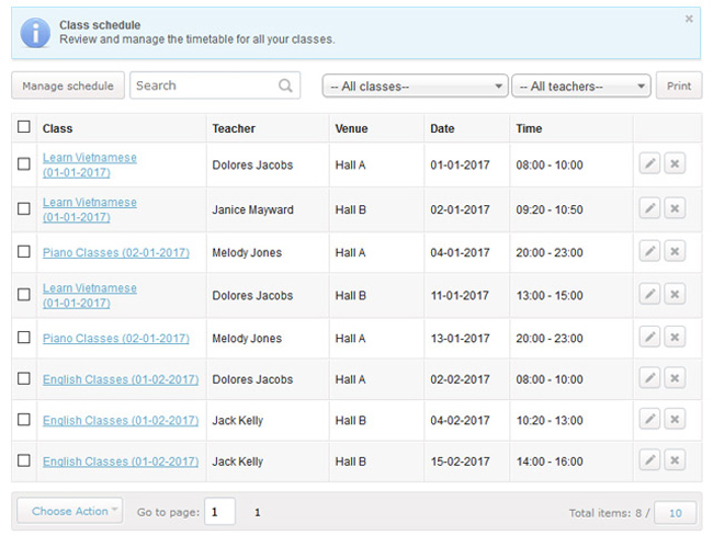 Class Scheduling System Screenshot 7