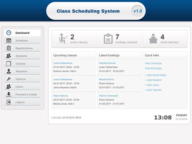 Class Scheduling System Screenshot 6