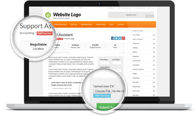 Responsive Job Board Theme Screenshot 1