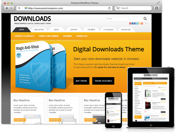 Responsive Downloads Theme Screenshot