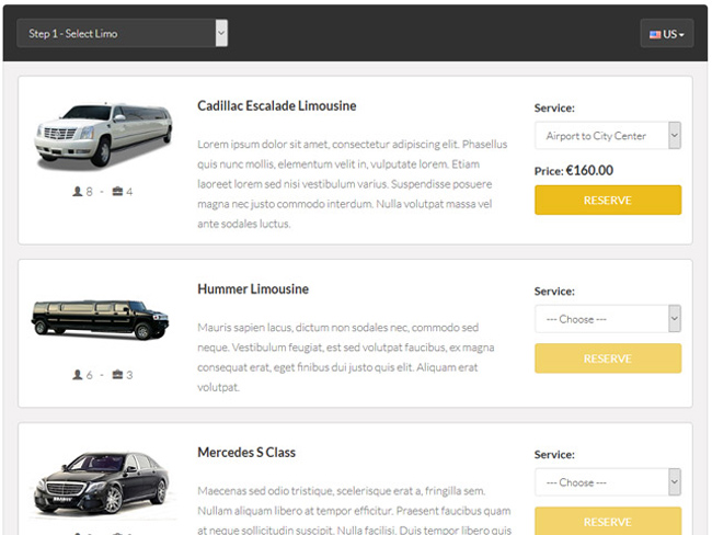 Limo Booking Software Screenshot