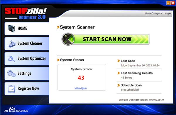 STOPzilla Optimizer Screenshot
