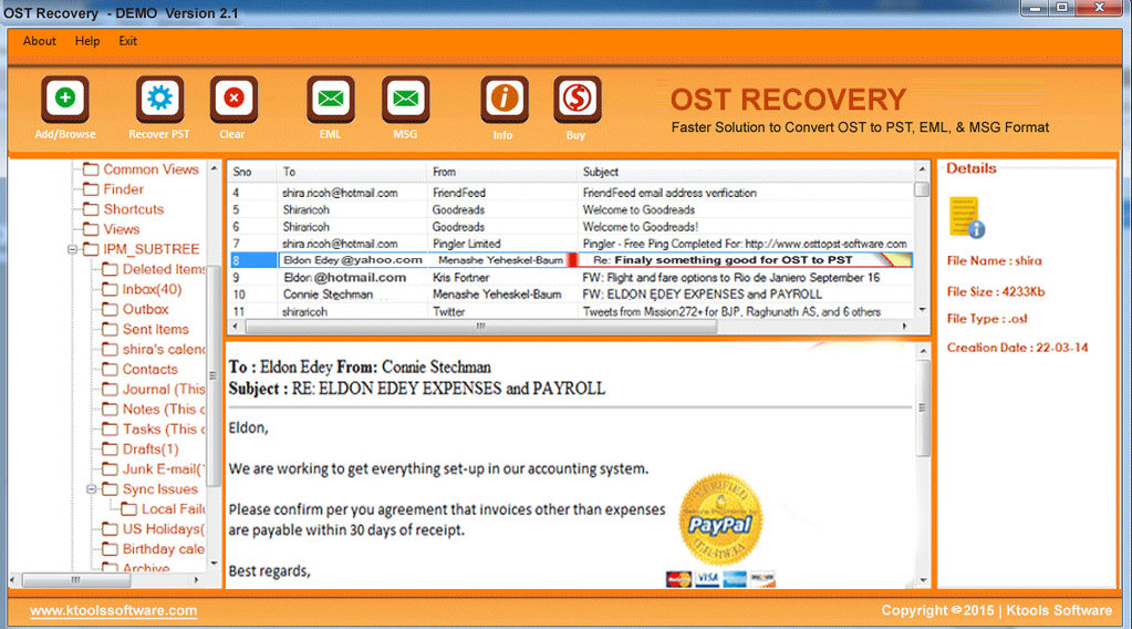 KTools OST to PST Converter Screenshot