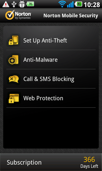 Norton Mobile Security Screenshot