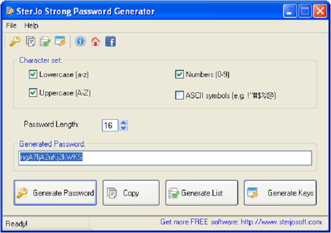 SterJo Strong Password Generator Screenshot 1