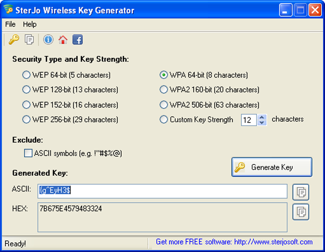 SterJo Wireless Key Generator Screenshot