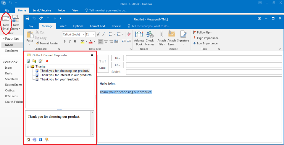 Outlook Canned Responder Screenshot