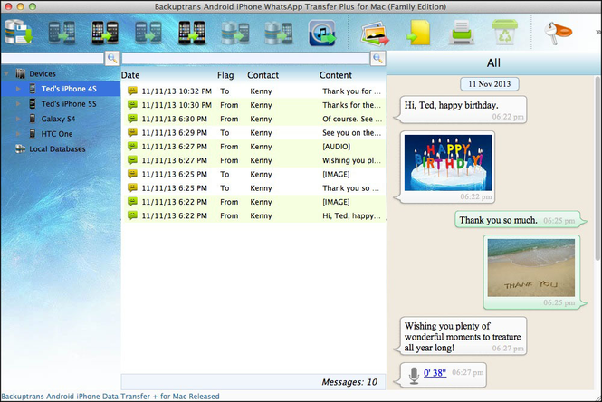 Backuptrans Android iPhone Data Transfer + for Mac Screenshot 1
