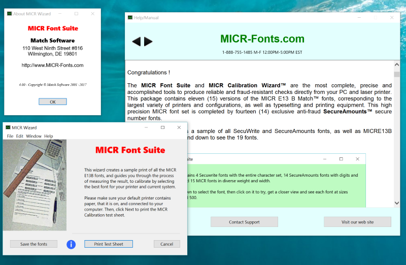 MICR Font Suite Screenshot