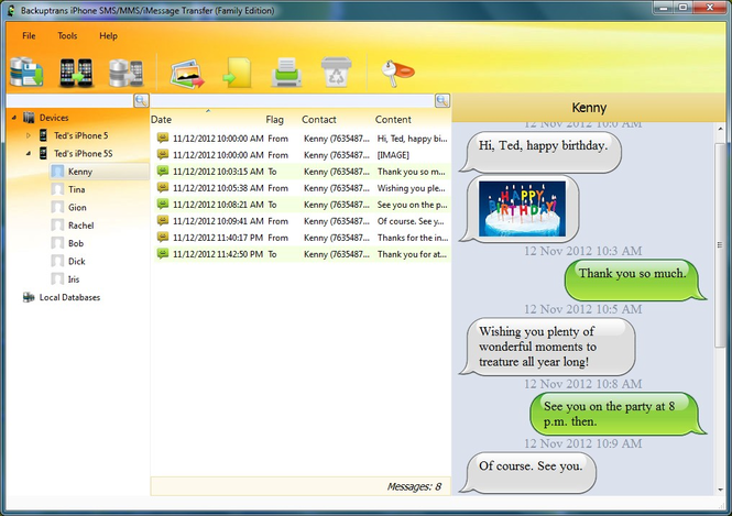 Backuptrans iPhone SMS/MMS/iMessage Transfer Screenshot 1