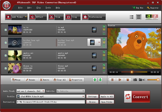 4Videosoft TRP Video Converter Screenshot