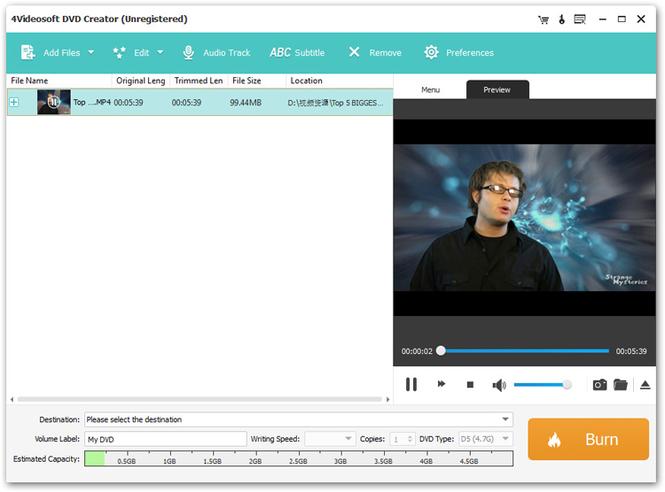 4Videosoft DVD Creator Screenshot 1