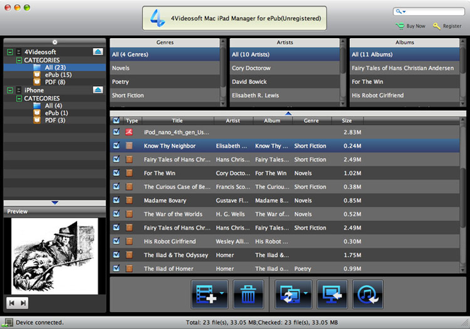 4Videosoft Mac iPad Manager for ePub Screenshot