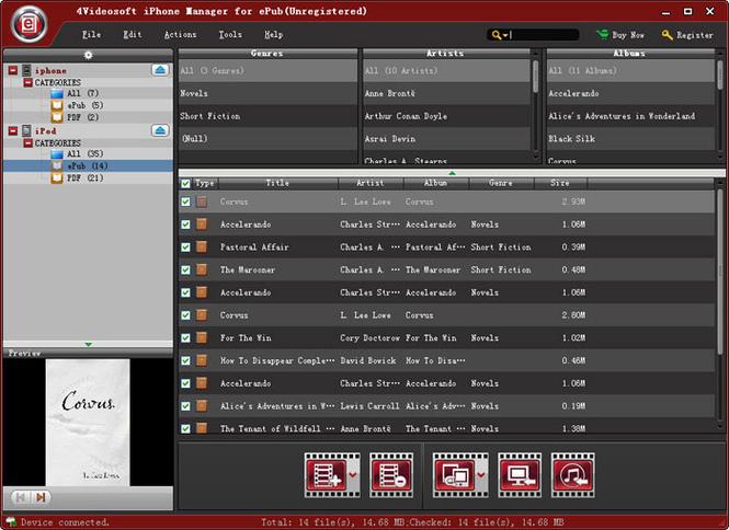 4Videosoft iPhone Manager for ePub Screenshot 1