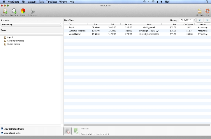 HourGuard Timesheet Software for Mac Screenshot