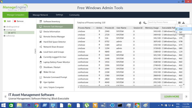 Free Windows Admin Tools Screenshot