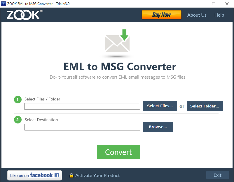 ZOOK EML to MSG Converter Screenshot 1