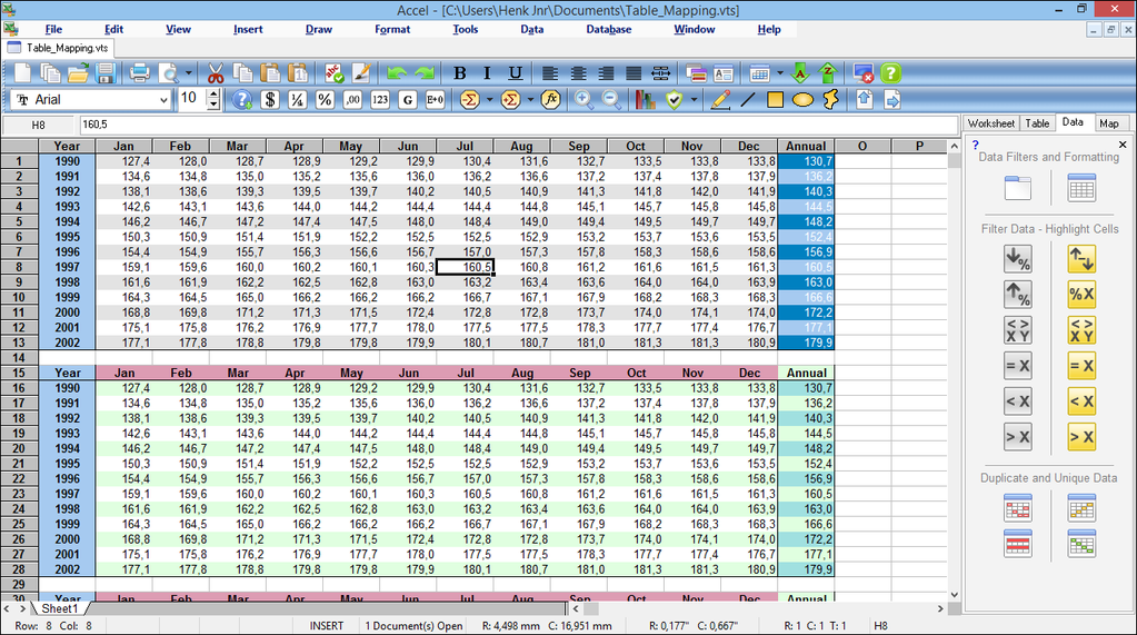 SSuite Accel Spreadsheet Screenshot