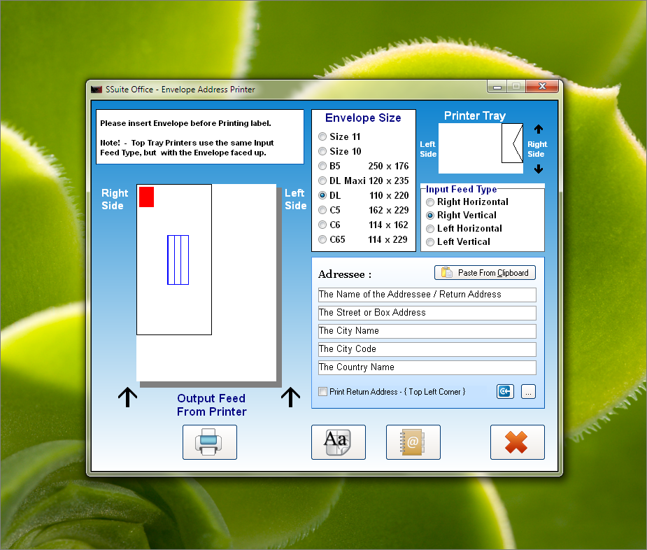 SSuite Envelope Printer Screenshot