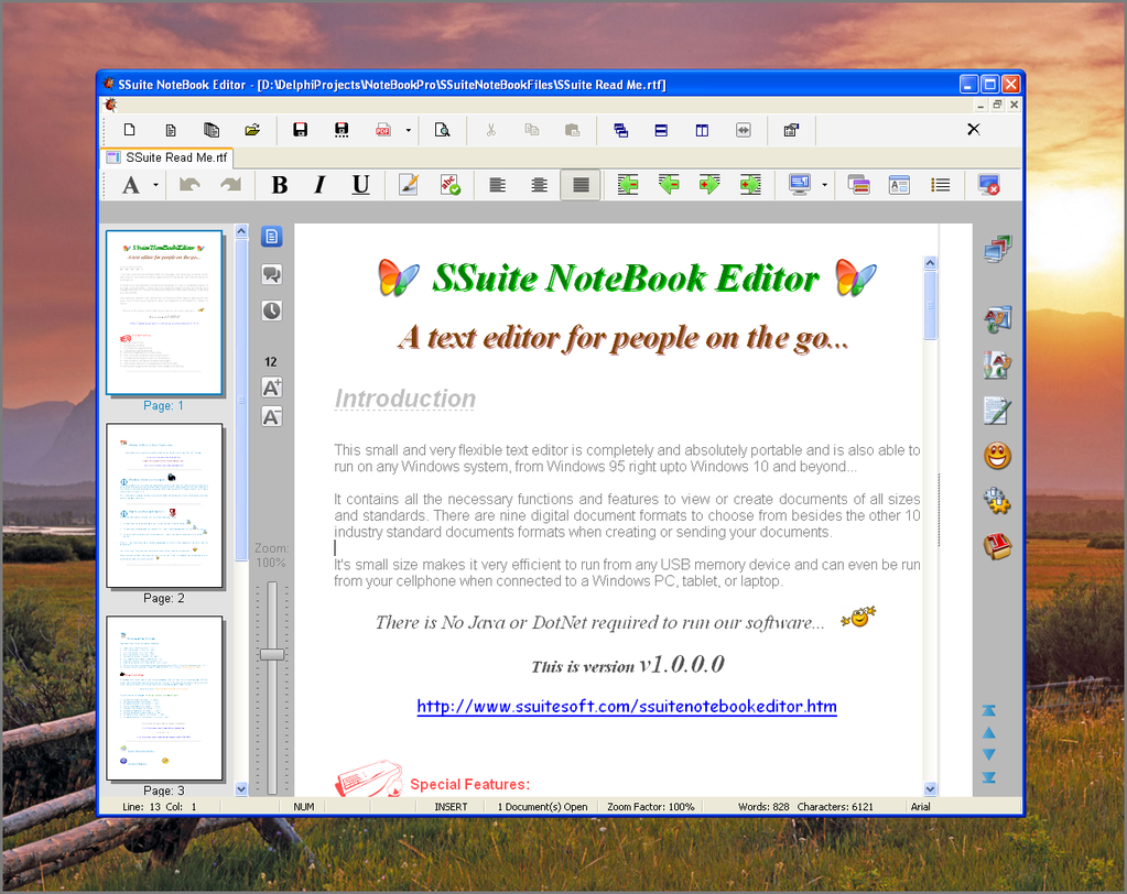 SSuite NoteBook Editor Screenshot