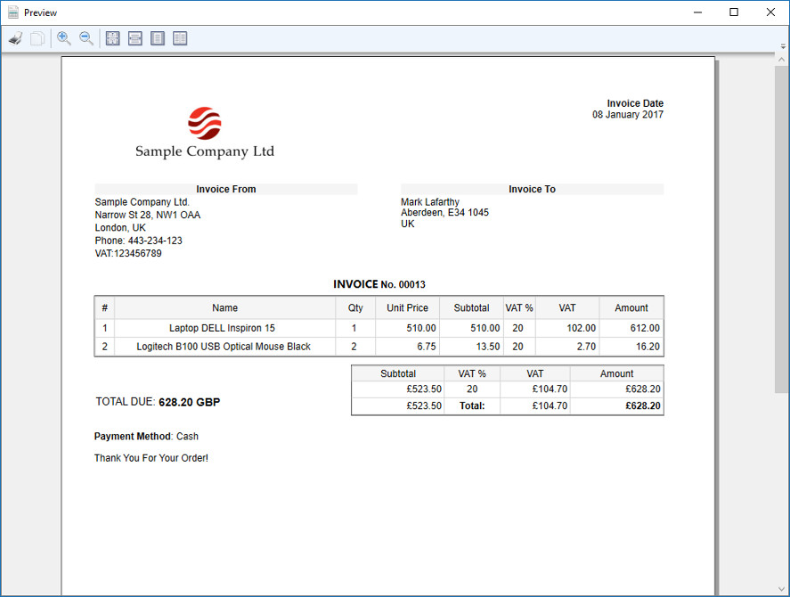 download simple invoice 2.0, Invoice examples