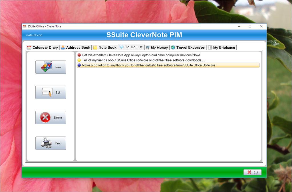 SSuite CleverNote PIM Screenshot 2