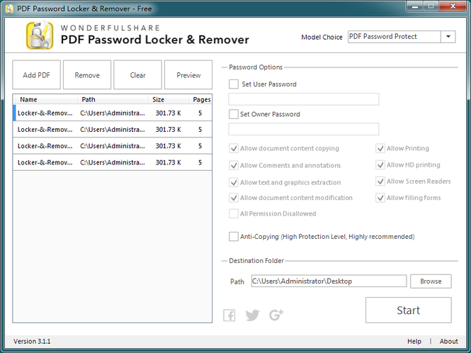 PDF Password Locker & Remover Screenshot 1